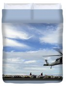 An Mh-60s Sea Hawk Lifts A Pallet Duvet Cover
