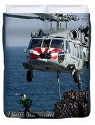 An Mh-60s Sea Hawk Picks Up Pallets Duvet Cover