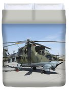 An Mi-24 Hind Helicopter Duvet Cover
