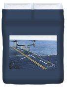An Mv-22 Osprey Lands Aboard Duvet Cover