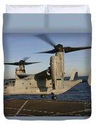 An Mv-22 Osprey Lands Aboard Usns Duvet Cover