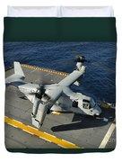An Mv-22 Osprey Lands Aboard Uss Duvet Cover