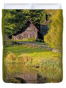 An Old Barn Reflected In The Pond Water Duvet Cover