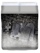 An Old Cemetery With Grave Stones And Fog Duvet Cover