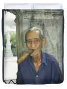 An Old Man Smokes An Over-sized Cigar Duvet Cover
