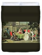 An Ornamental Garden With Elegant Figures Seated Around A Card Table Duvet Cover