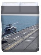 An Sh-60 Sea Hawk Helicopter Lands Duvet Cover