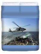 An Sh-60r Sea Hawk Delivers Pallets Duvet Cover