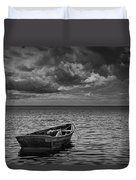 Anchored Row Boat Looking Out To Sea Duvet Cover
