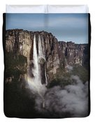Angel Falls, With Plane For Scale Duvet Cover