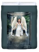Angel On Stone Bench Looking Up Into The Light Duvet Cover