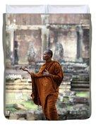 Angkor Wat Monk Duvet Cover