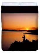Angler At Sunset, Roaring Water Bay, Co Duvet Cover by The Irish Image Collection