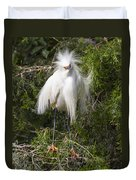 Angry Bird Snowy Egret In Breediing Plumage Duvet Cover