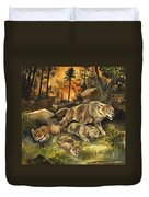 Animals United In Terror As They Flee From A Forest Fire Duvet Cover