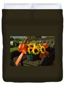 Antique Buggy And Sunflowers Duvet Cover