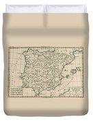 Antique Map Of Spain Duvet Cover