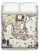 Antique Map Showing Southeast Asia And The East Indies Duvet Cover by Willem Blaeu
