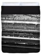 Antique Piano Black And White Duvet Cover