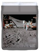 Apollo 15 Astronaut Works At The Lunar Duvet Cover