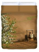 Apple Blossoms And Farmer On Tractor Duvet Cover