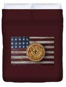 Apple Pie On Folk Art  American Flag Duvet Cover