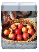Apples And Bananas In Basket Duvet Cover