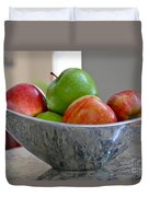 Apples In Fruit Bowl Duvet Cover