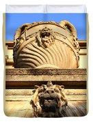 Architectural Detail . Large Urn With Lion Gargoyle  . Hearst Gym . Uc Berkeley . 7d10191 Duvet Cover