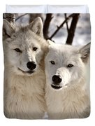 Arctic Wolves Close Together In Winter Duvet Cover