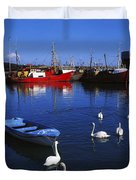 Ardglass, Co Down, Ireland Swans Near Duvet Cover