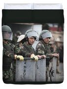 Argentine Marines Dressed In Riot Gear Duvet Cover by Stocktrek Images