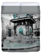 Arles Fountain With A Spot Of Color Duvet Cover