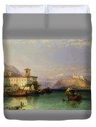 Arona And The Castle Of Angera Lake Maggiore Duvet Cover