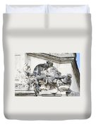 Art Gallery Statue In Cardiffs Duvet Cover