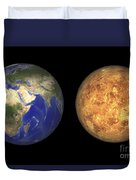 Artists Concept Showing Earth And Venus Duvet Cover by Walter Myers