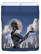 Artists Concept Where Technology Takes Duvet Cover by Mark Stevenson