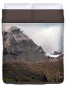 Ash And Gas Rising From Lava Dome Duvet Cover