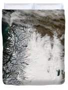 Ash Plume From Chaiten Volcano And Snow Duvet Cover