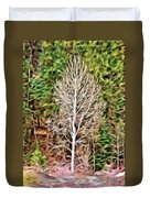 Aspen Tree On A Forest Road Duvet Cover
