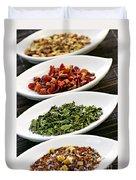 Assorted Herbal Wellness Dry Tea In Bowls Duvet Cover