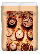Assorted Watches On Time Chart Duvet Cover