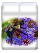 Asters With Dew And Bumblebee Duvet Cover