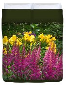 Astilbe And Lilies Duvet Cover
