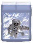 Astronaut Gernhardt On Robot Arm Duvet Cover