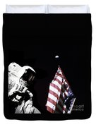 Astronaut Stands Next To The American Duvet Cover