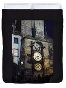 Astronomical Clock At Night Duvet Cover