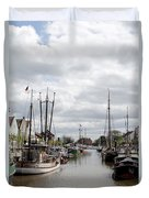 At The Old Harbor Duvet Cover