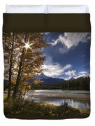 Athabasca River With Mount Fryatt Duvet Cover