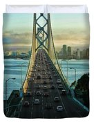 Atop Of San Francisco Bay Bridge Duvet Cover